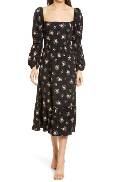 Reformation FLORAL LONG SLEEVE MIDI DRESS