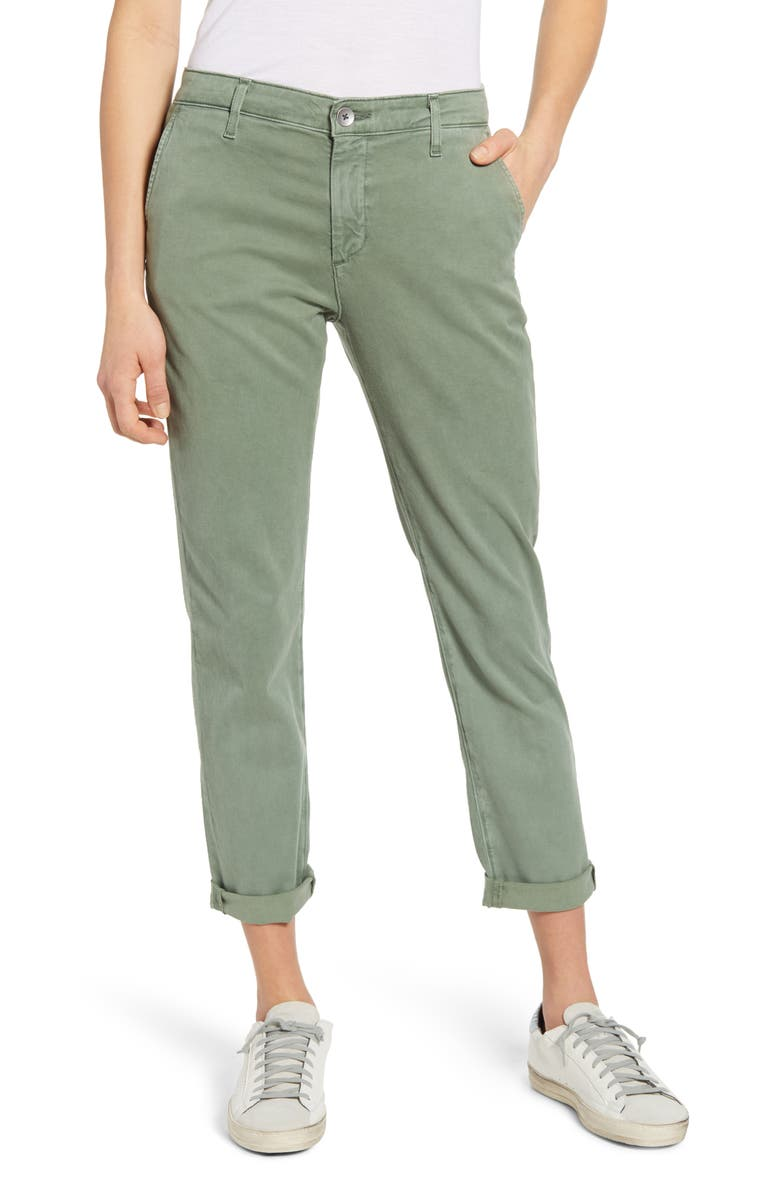 AG Caden Crop Twill Trousers, Main, color, SULFUR SWEET MEADOW