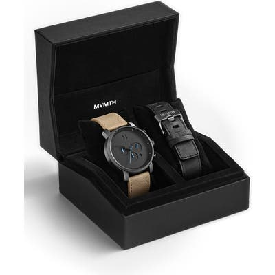 Mvmt The Chrono Chronograph Leather Strap Watch Set, 45Mm