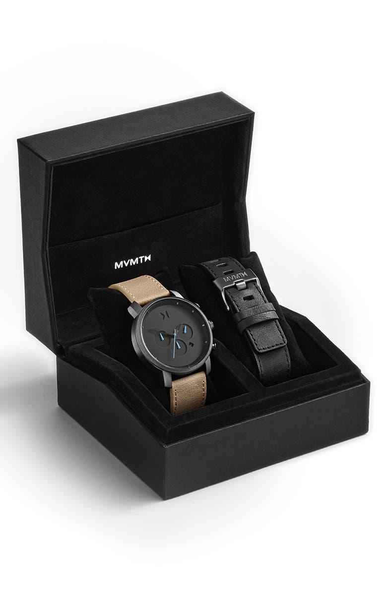 MVMT The Chrono Chronograph Leather Strap Watch Set, 45mm, Main, color, TAN/ BLACK