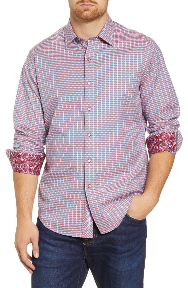 ROBERT GRAHAM Melrose Classic Fit Jacquard Button-Up Shirt, Main, color, CORAL