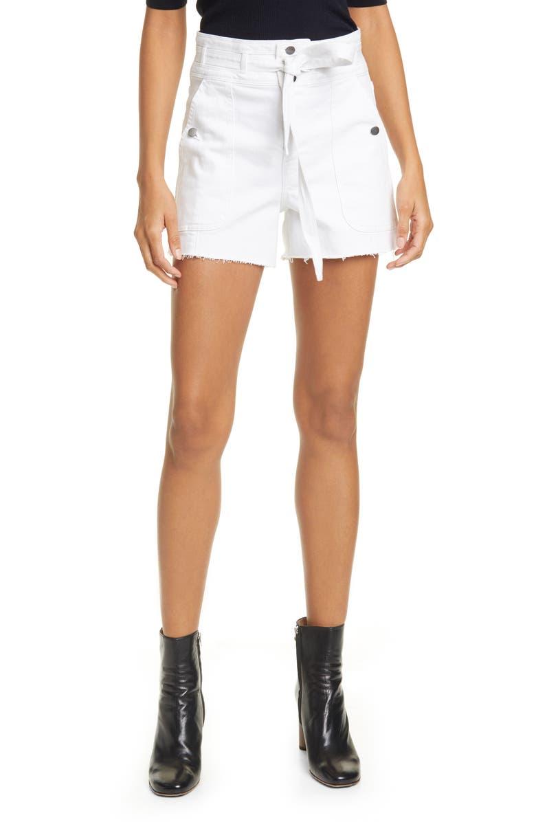FRAME Le Brigette Triple Tie Waist Denim Shorts, Main, color, BLANC