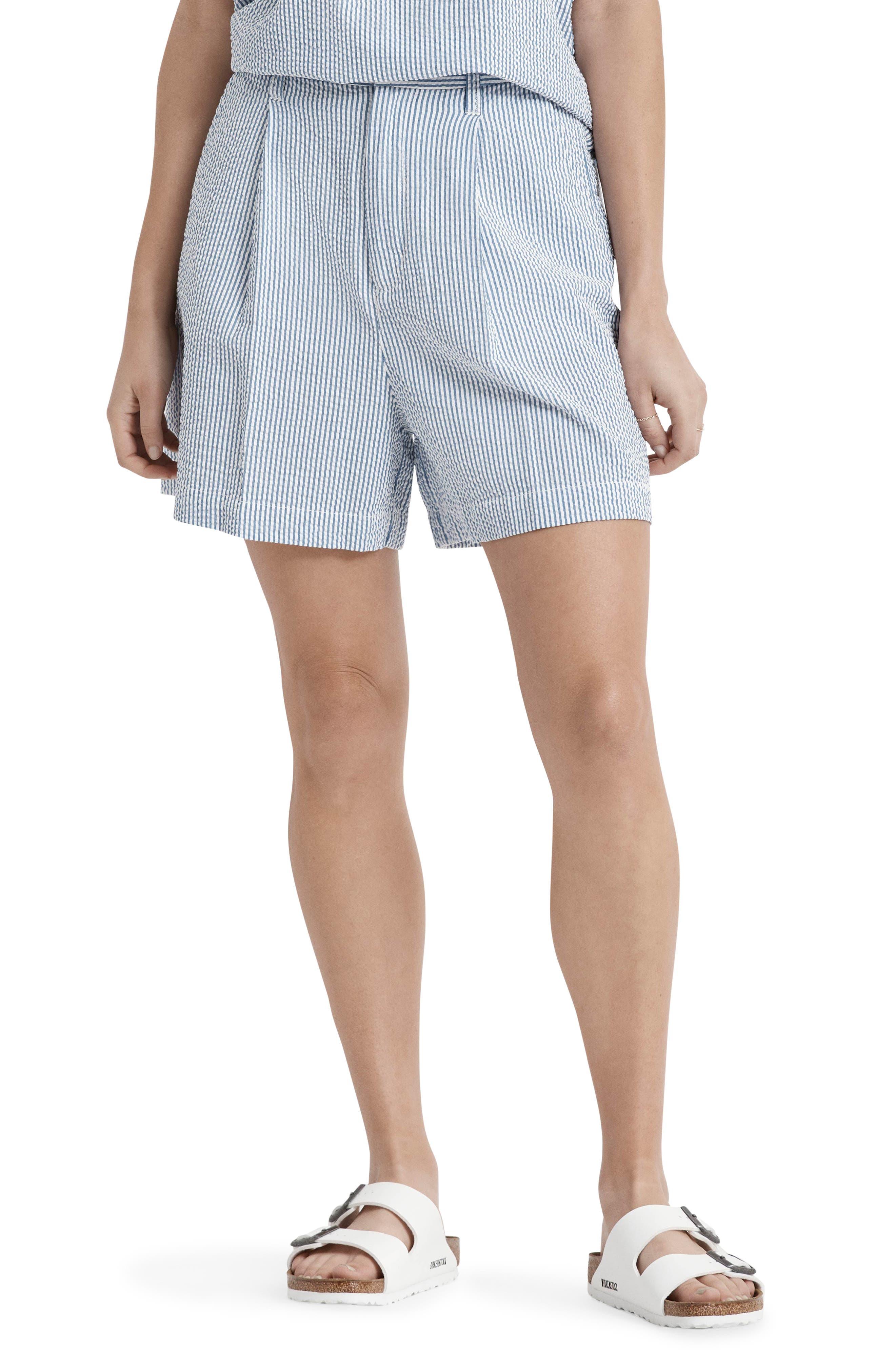 Victory Pleated Cotton Seersucker Shorts