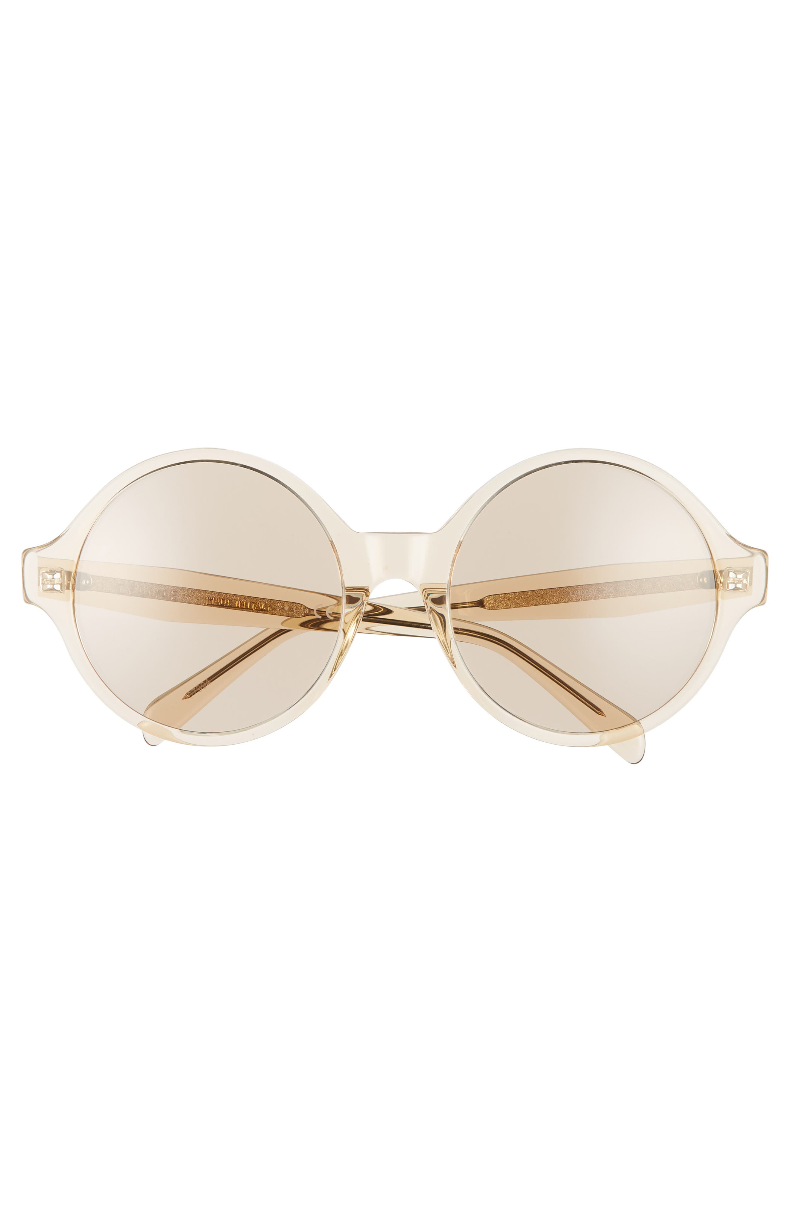 ,                             58mm Round Sunglasses,                             Alternate thumbnail 3, color,                             TRANSPARENT OCHRE/ LIGHT BROWN