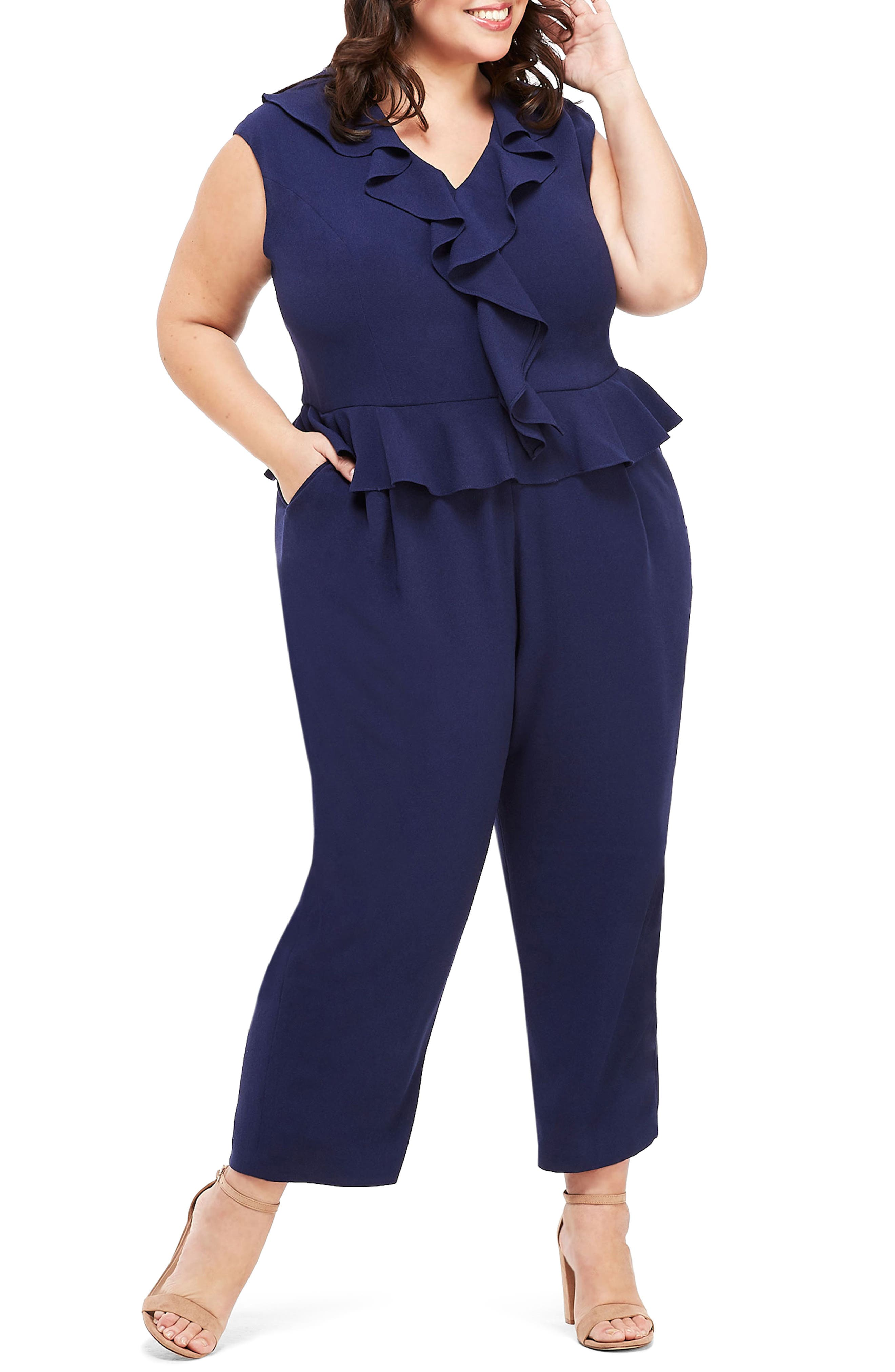 Image of Maggy London Ruffle Peplum Ankle Jumpsuit