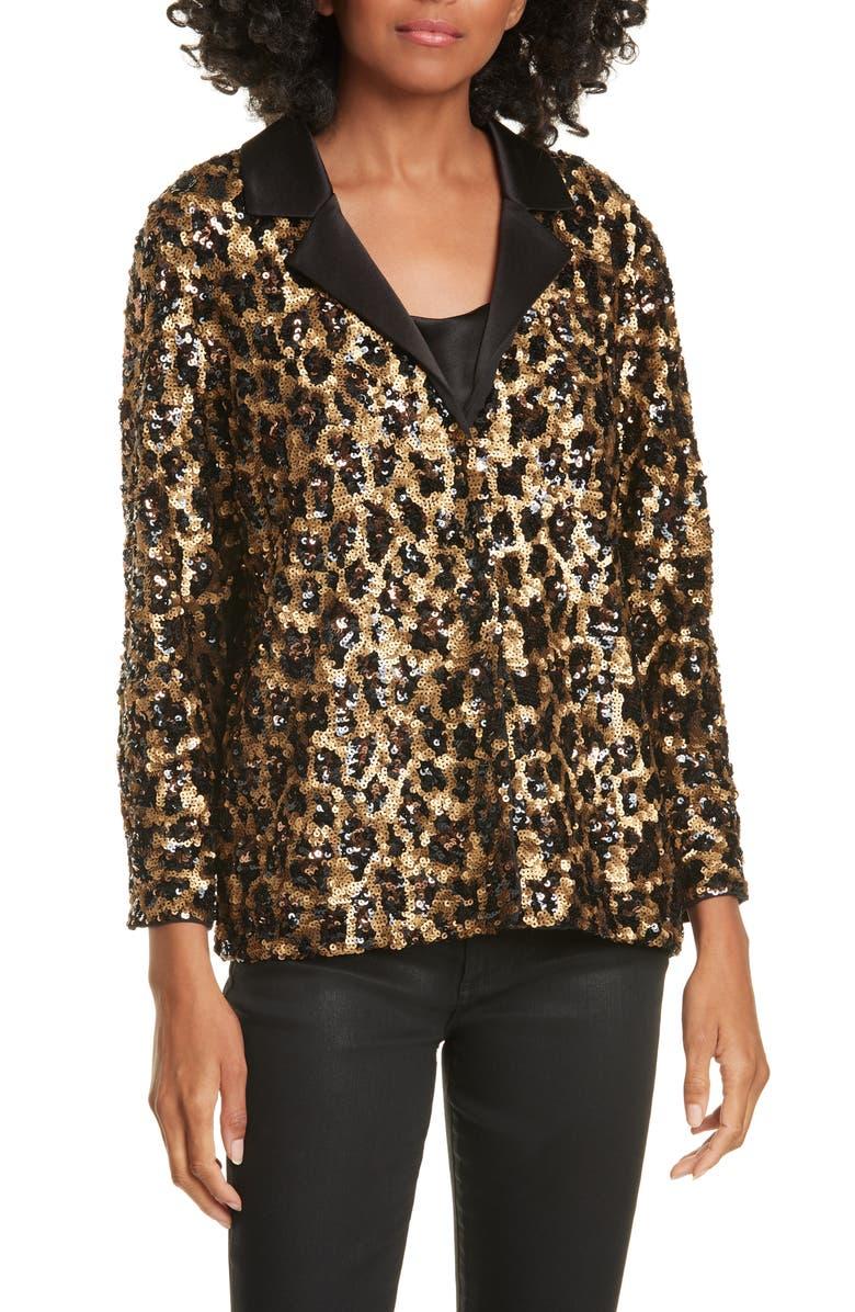 ALICE + OLIVIA Keir Pajama Style Sequin Top, Main, color, LEOPARD