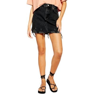 Topshop Denim Miniskirt, US (fits like 0) - Black