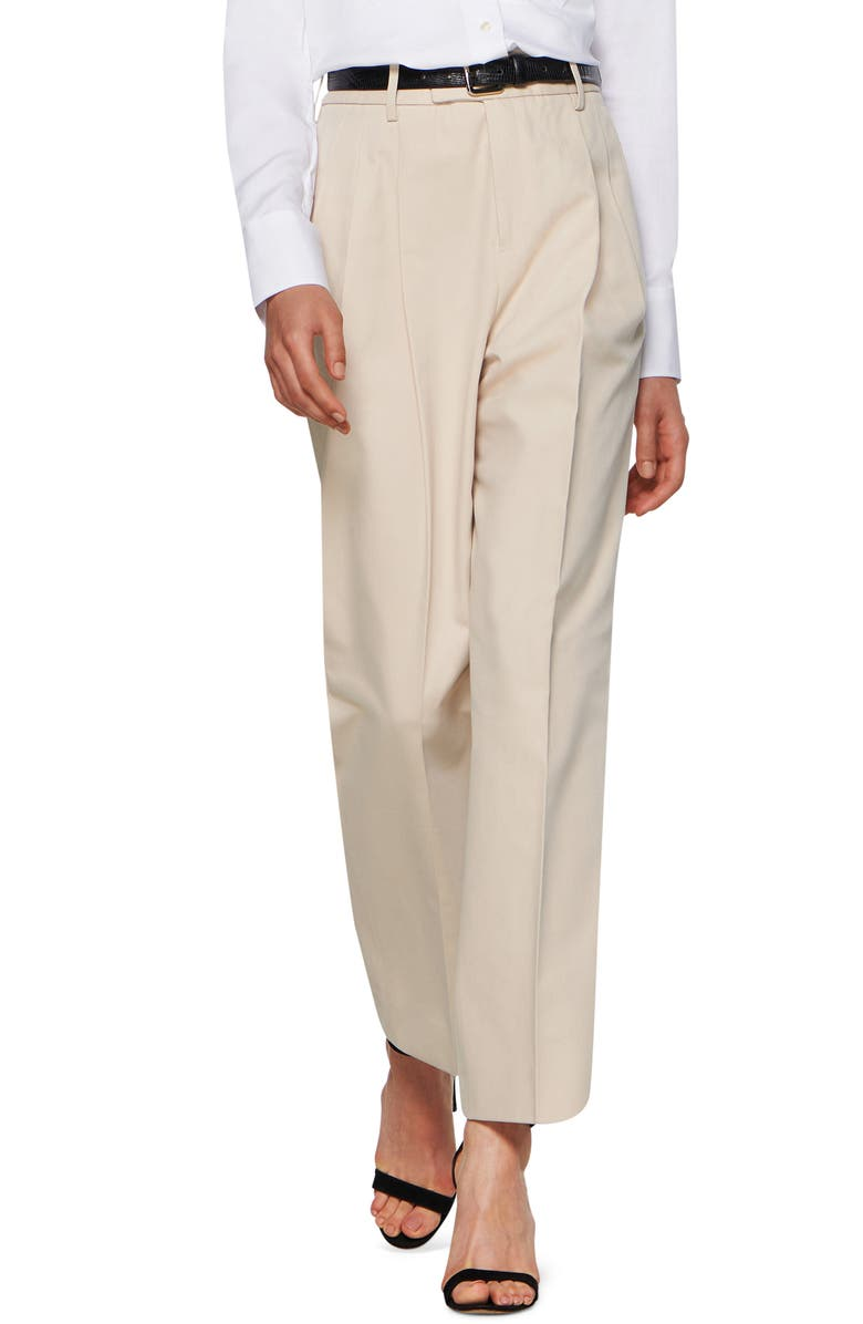 SUISTUDIO Max Cotton Blend Tapered Trousers, Main, color, SAND