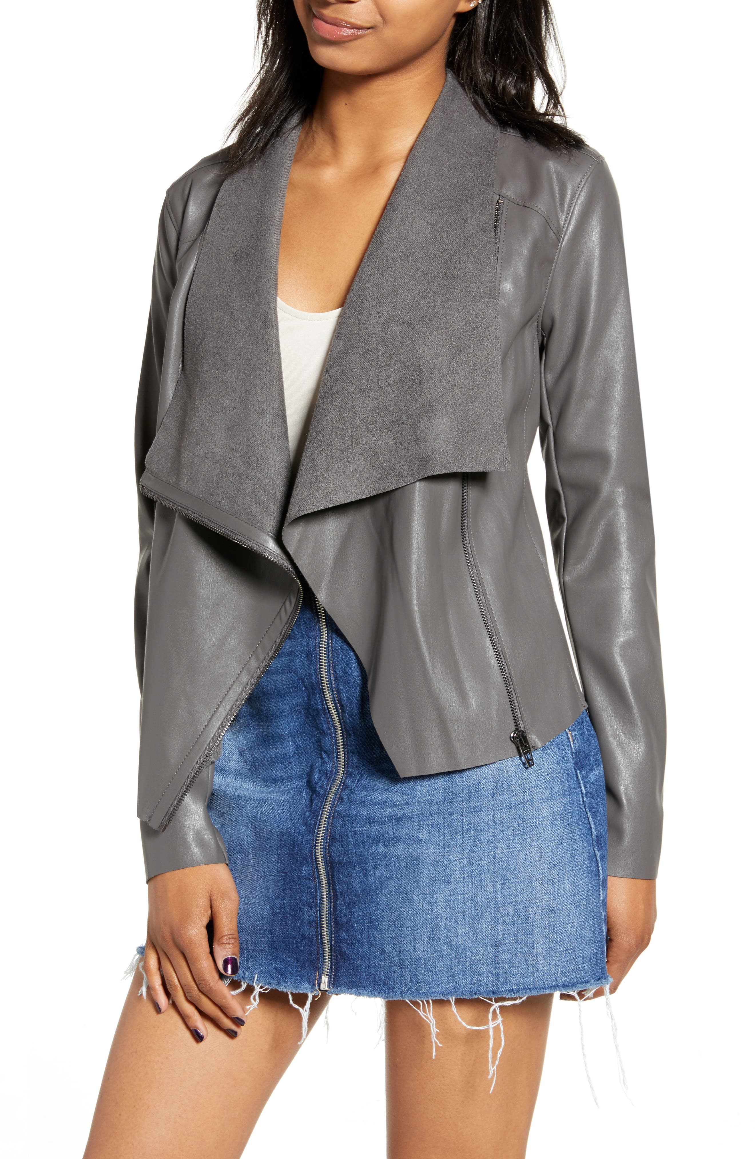 BLANKNYC Onto the Next Faux Leather Drape Front Jacket (Regular & Plus Size)