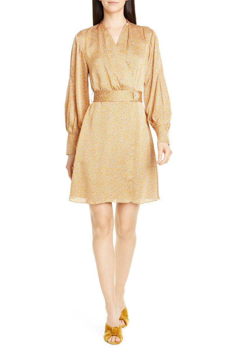 EQUIPMENT Fanetta Floral Long Sleeve Wrap Dress, Main, color, OCRE MULTI