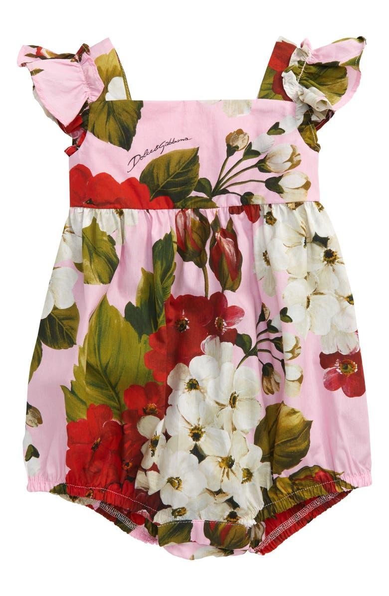 DOLCE&GABBANA Floral Print Romper, Main, color, GERANIUM