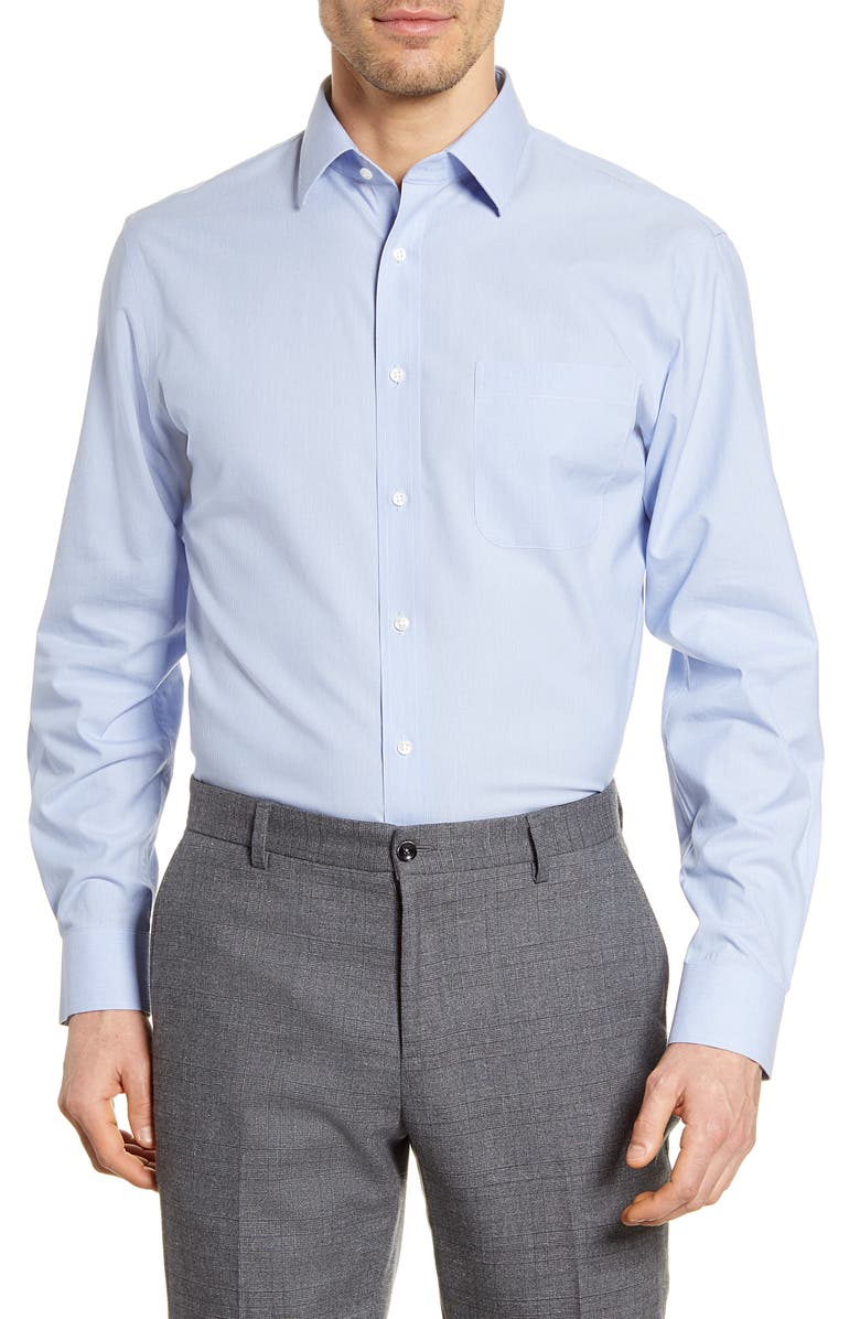 NORDSTROM MEN'S SHOP Smartcare<sup>™</sup> Traditional Fit Stripe Dress Shirt, Main, color, BLUE AMPARO