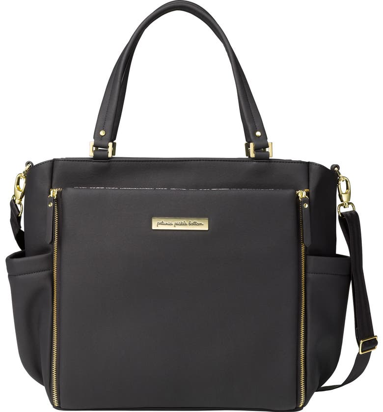 PETUNIA PICKLE BOTTOM City Carryall Diaper Bag, Main, color, BLACK MATTE LEATHERETTE