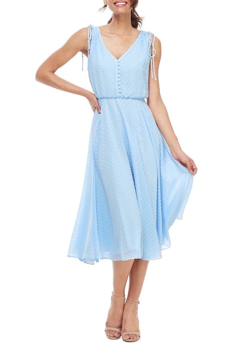 GAL MEETS GLAM COLLECTION Hilary Clip Dot Chiffon Midi Dress, Main, color, BLUE