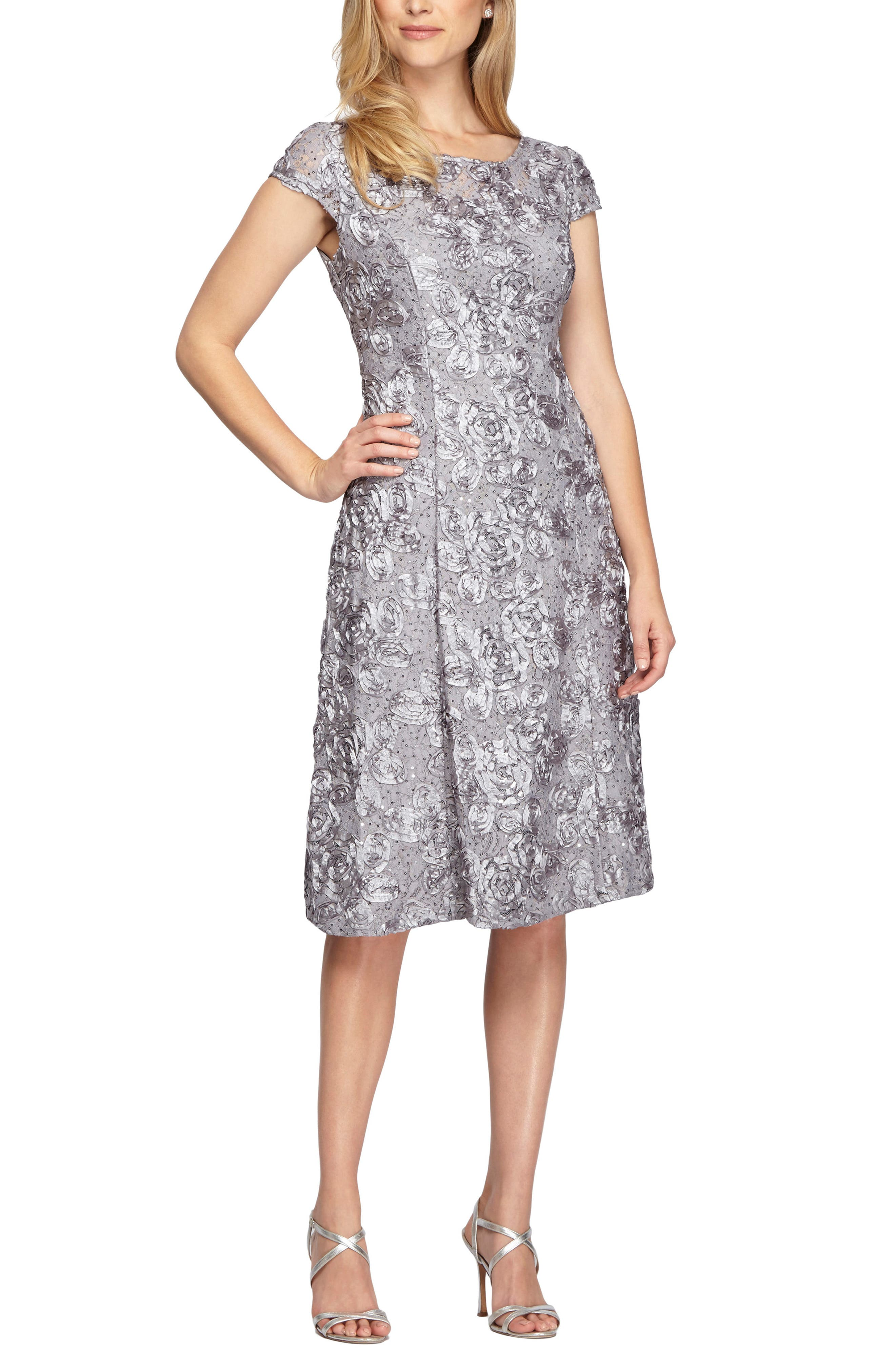 Sequin Rosette Cocktail Dress