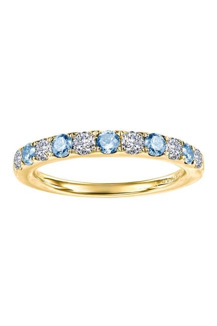 Image of LaFonn Gold Plated December Blue Topaz Birthstone Band Ring