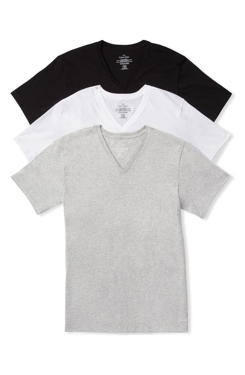 23f8634ae Calvin Klein Assorted 3-Pack Classic Fit Cotton V-Neck T-Shirt ...