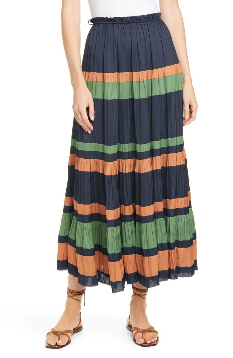 ULLA JOHNSON Avelina Stripe Skirt, Main, color, MIDNIGHT