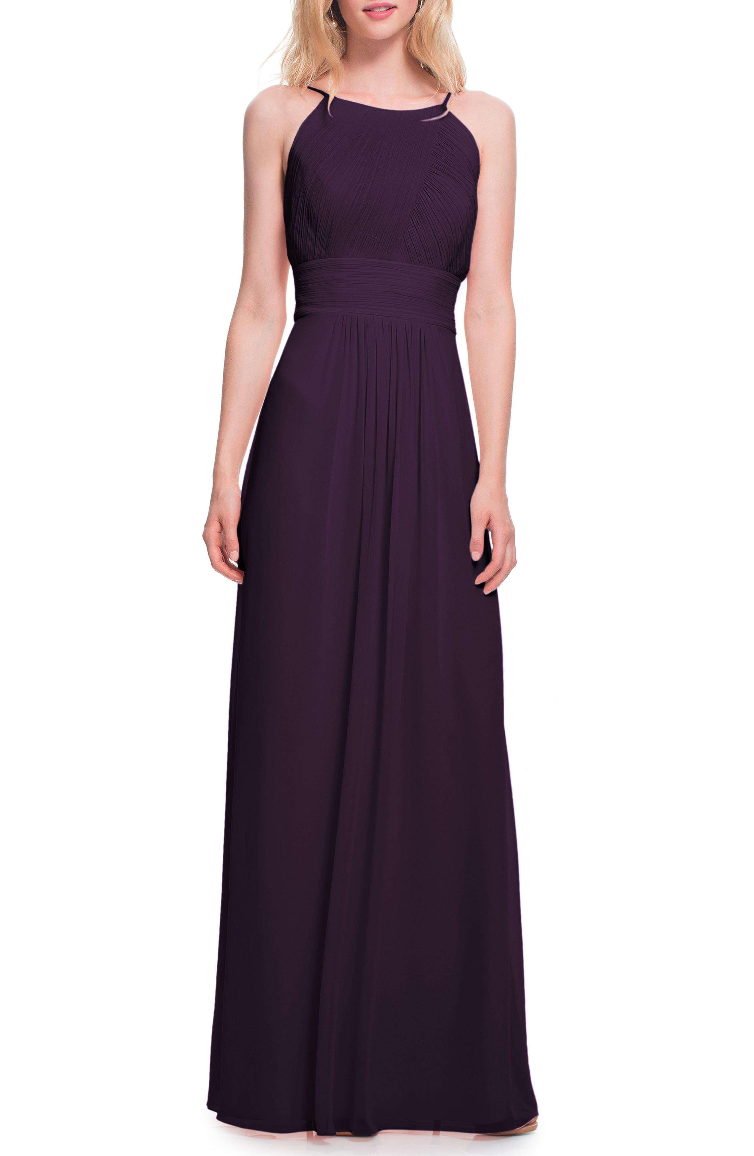 #levkoff Low Back Pleated Chiffon Gown, Purple