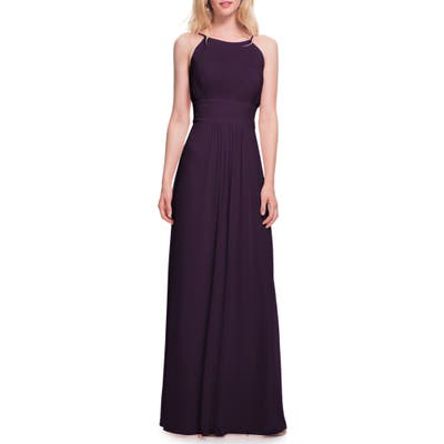 #levkoff Low Back Pleated Chiffon Gown, Purple