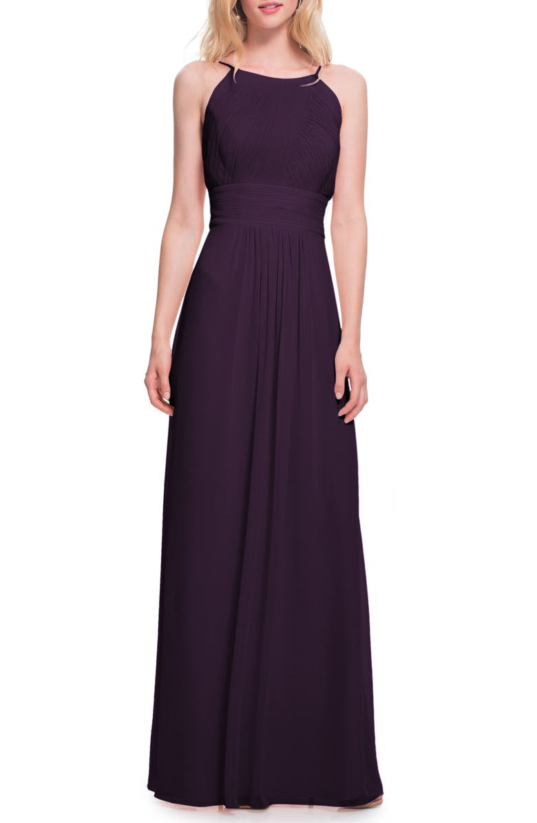 #LEVKOFF Low Back Pleated Chiffon Gown, Main, color, PLUM