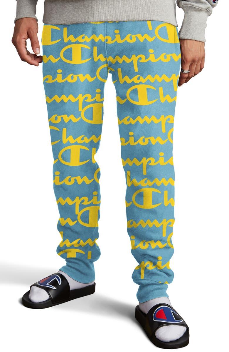 CHAMPION Life<sup>®</sup> Reverse Weave Script Fleece Jogger Pants, Main, color, GIANT SCRIPT ACTIVE BLUE