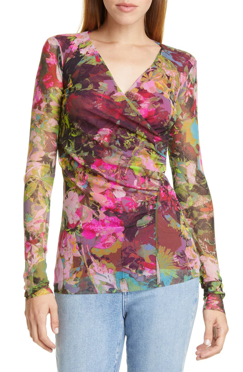 FUZZI Ruched Floral Print Top, Main, color, BILIARDO