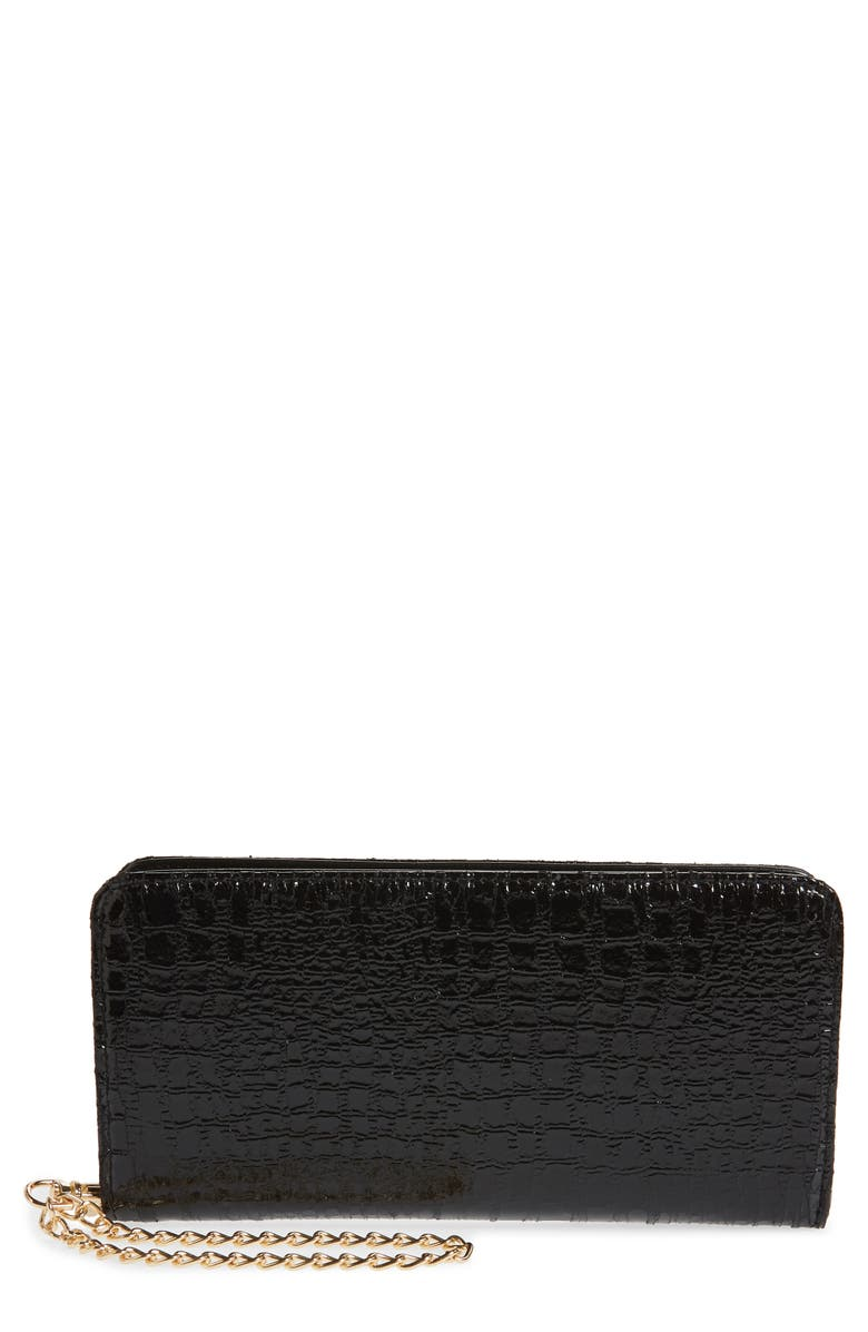 BP. Embossed Faux Leather Wallet, Main, color, BLACK