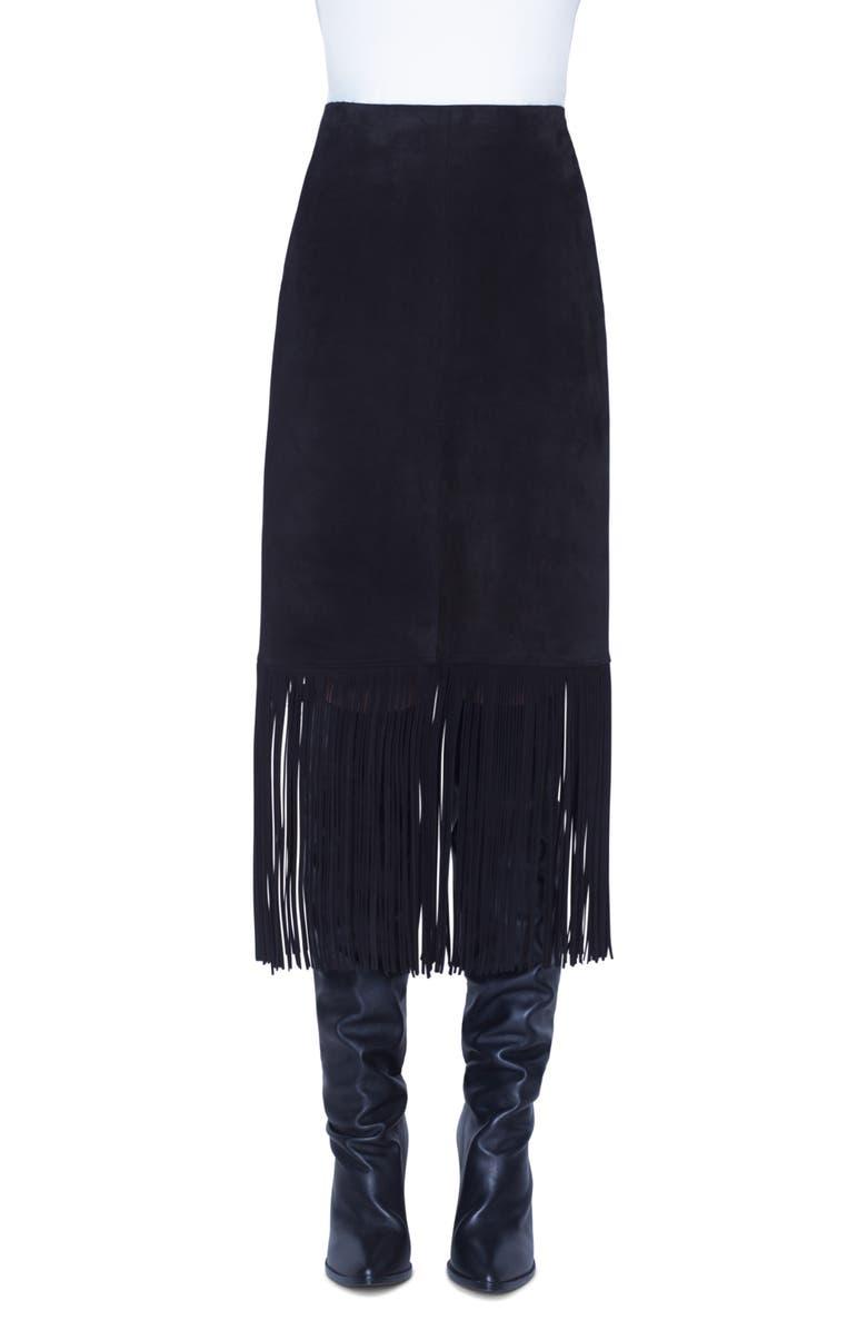 AKRIS PUNTO Fringe Suede Midi Skirt, Main, color, BLACK