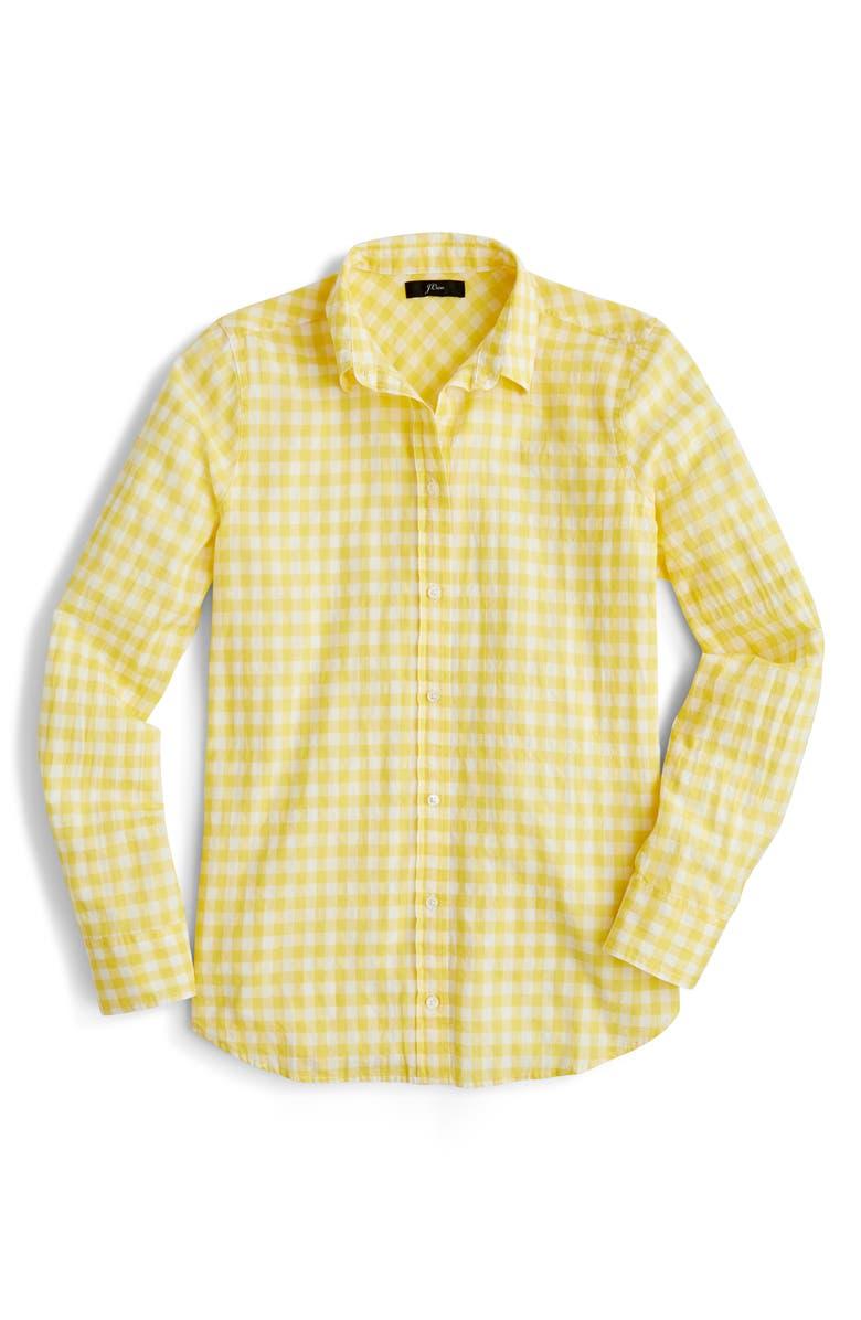d68e29ea27409 J.Crew Crinkle Gingham Boy Shirt (Regular & Petite)   Nordstrom