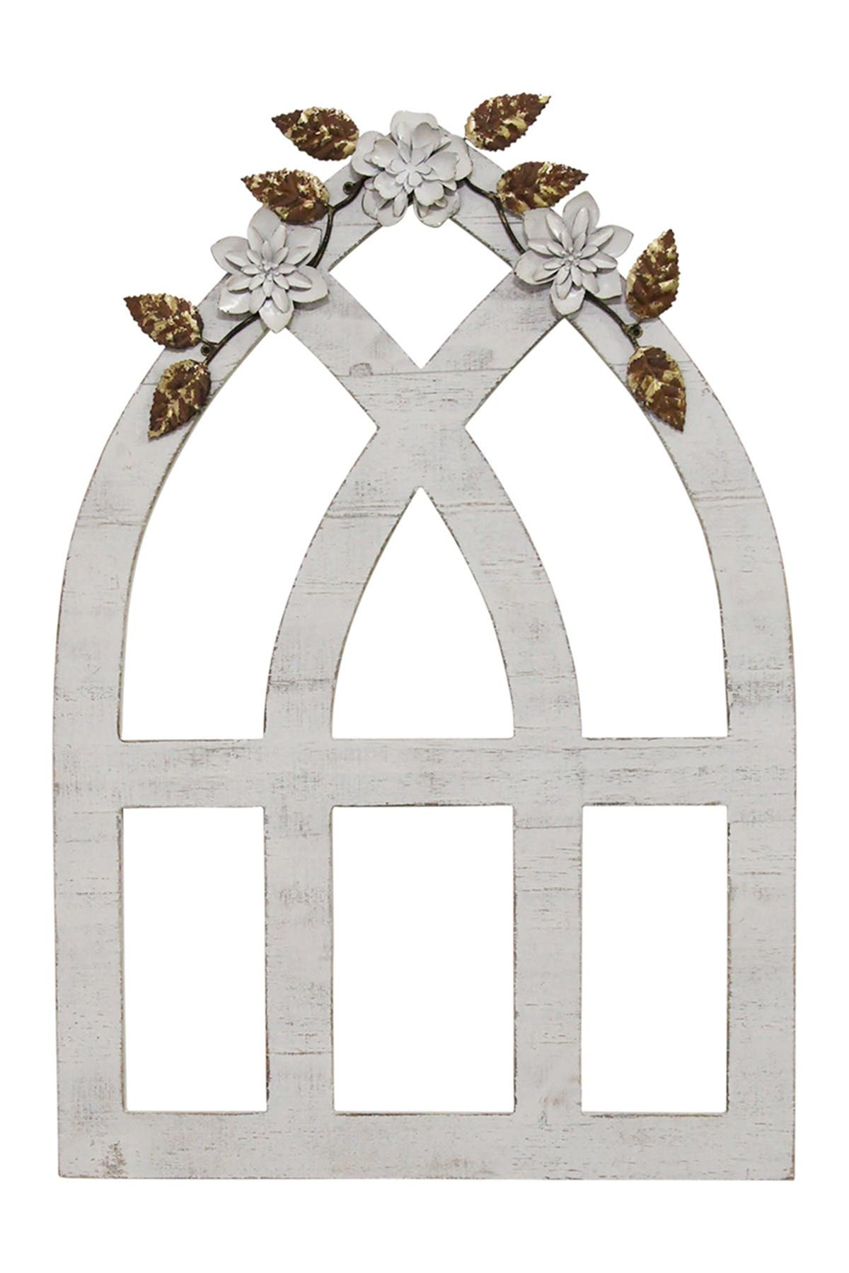 Image of Stratton Home White Arch With Metal Flowers Wall Decor