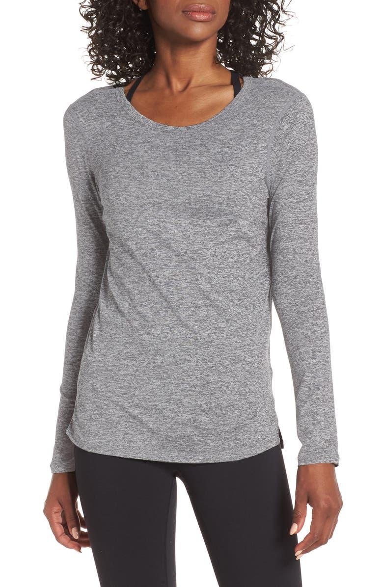 ZELLA Liana Long Sleeve Recycled Blend Performance T-Shirt, Main, color, GREY SHADE