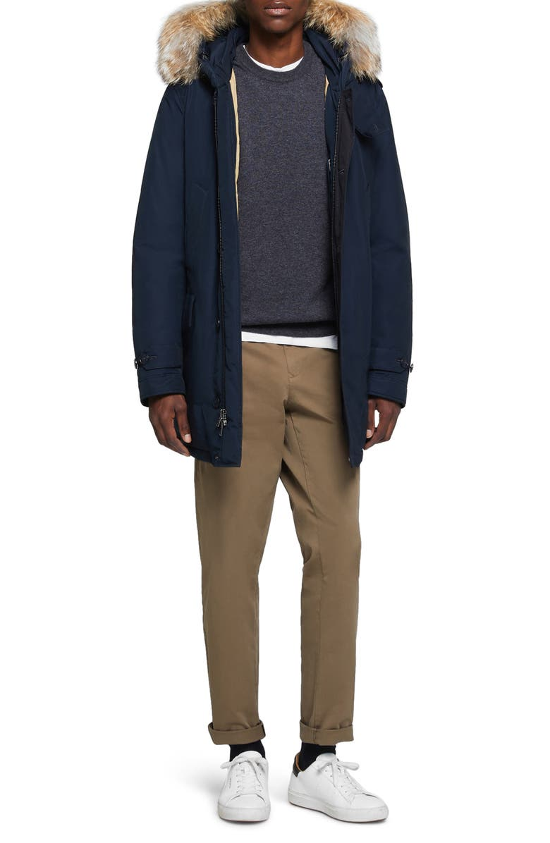 WOOLRICH Polar Fill Power Down Parka with Genuine Coyote Fur Trim, Main, color, MELTON BLUE