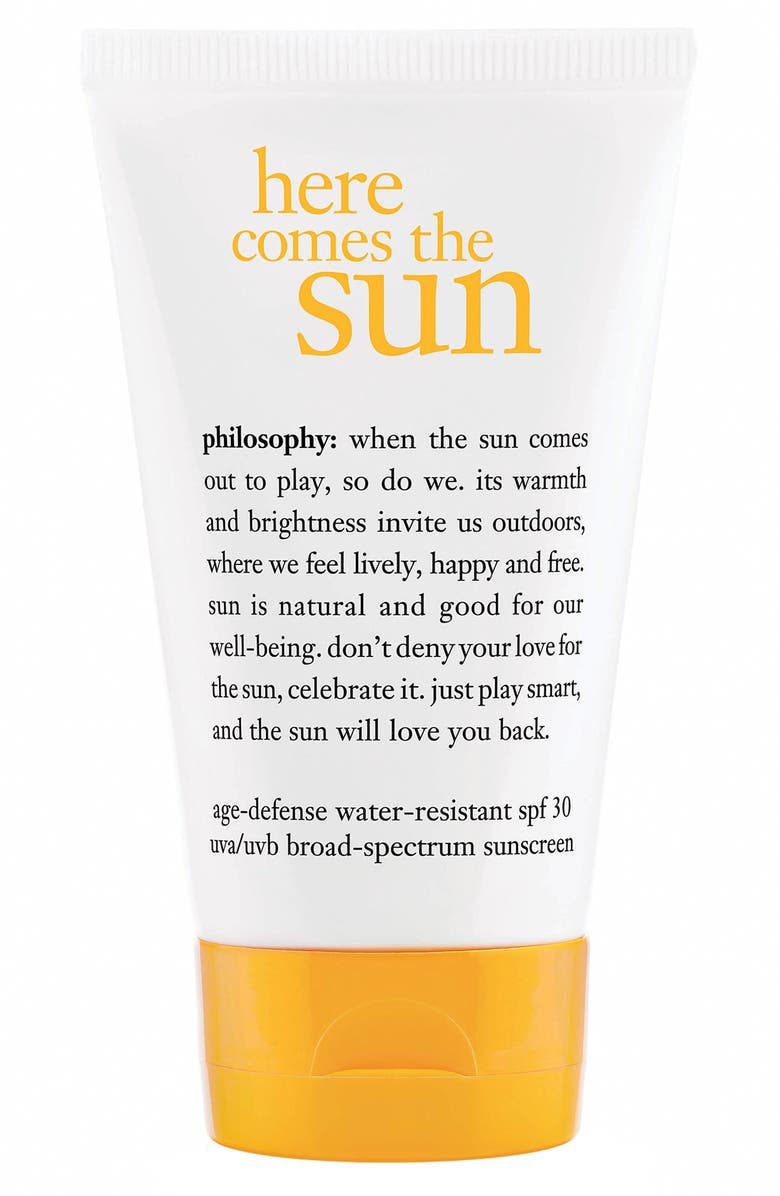 PHILOSOPHY 'here comes the sun' age defense sunscreen spf 30, Main, color, 000