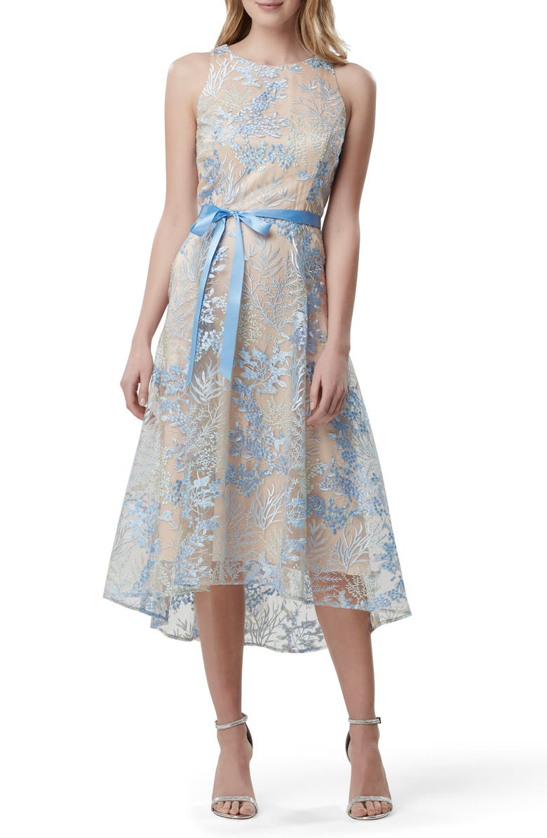 TAHARI Embroidered Sleeveless High/Low Midi Dress, Main, color, POWDER BLUE EMBROIDERY