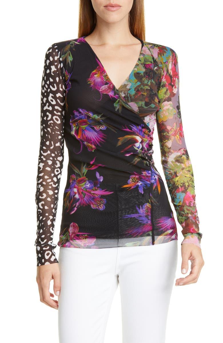 FUZZI Floral Leopard Print Wrap Top, Main, color, NERO