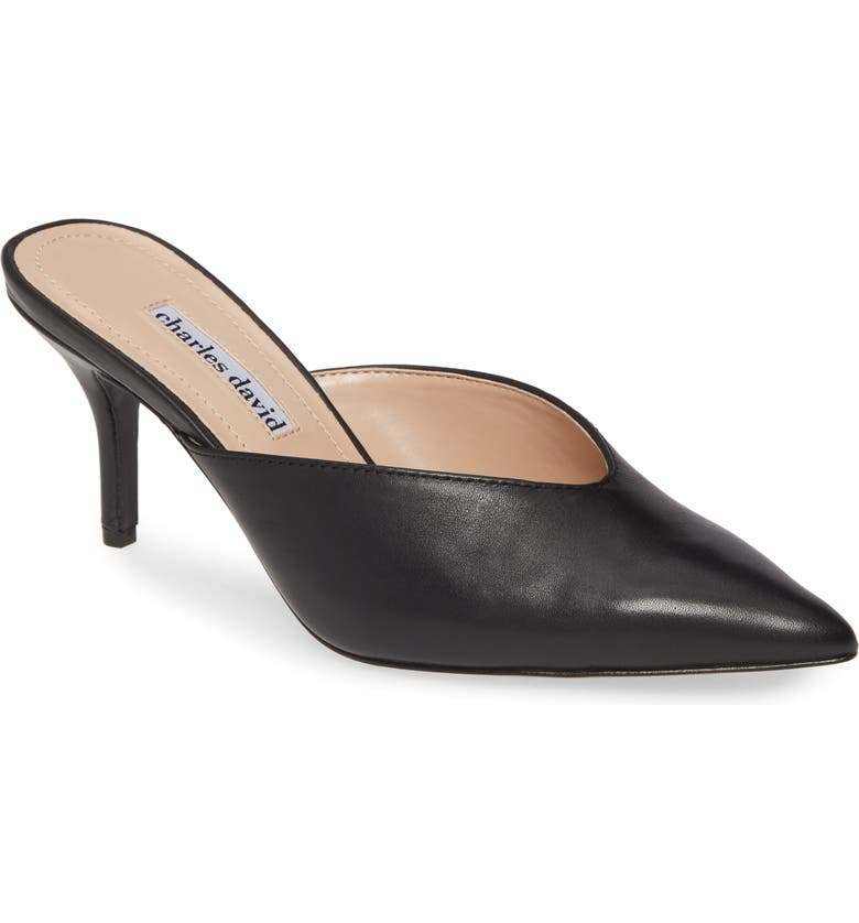 CHARLES DAVID Askan Mule, Main, color, BLACK LEATHER