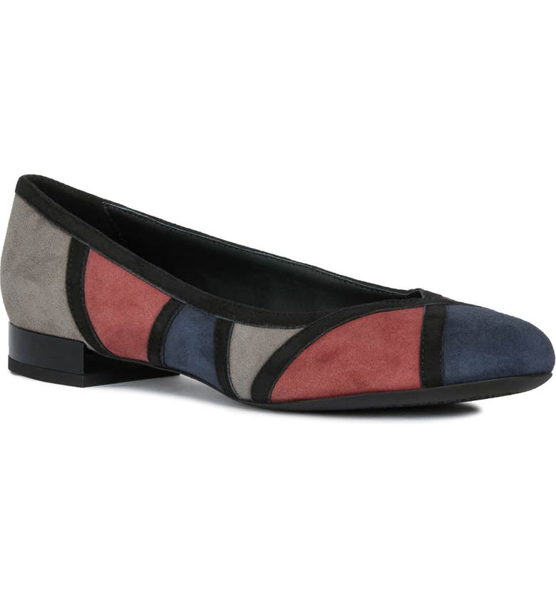 GEOX Wistery Flat, Main, color, NAVY/ BORDEAUX SUEDE