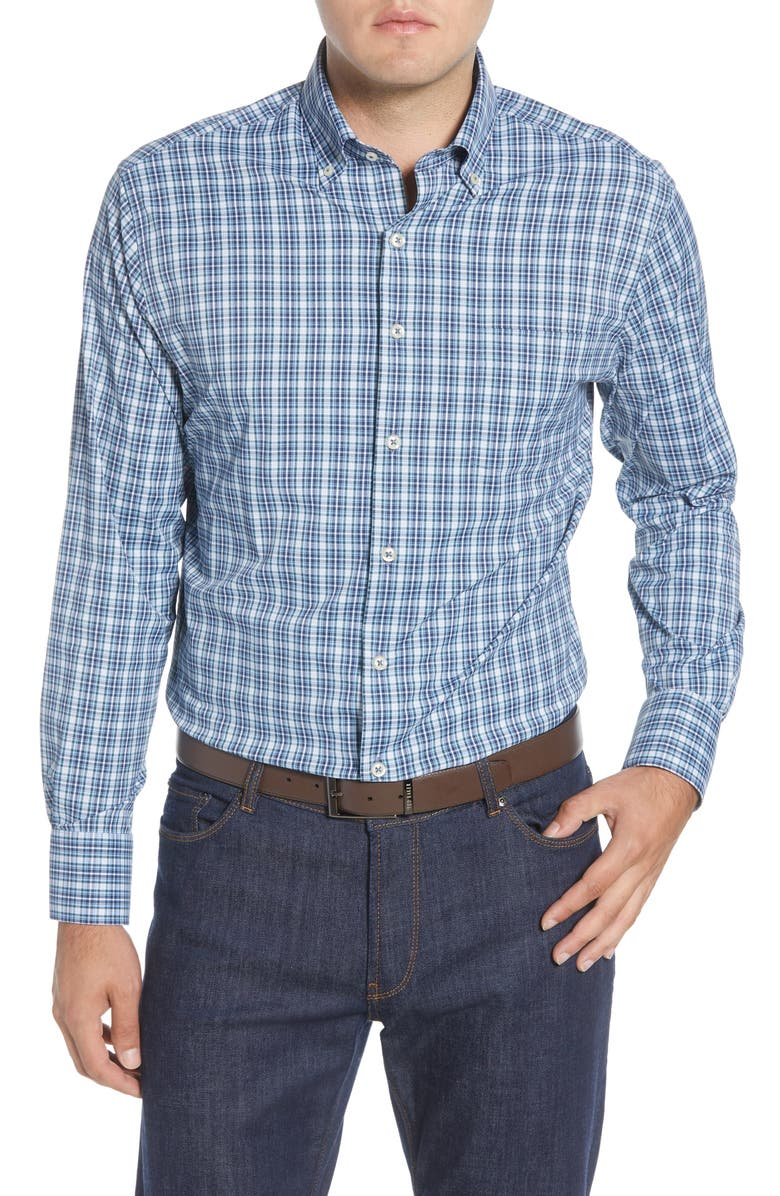 PETER MILLAR Wolf Valley Regular Fit Plaid Button-Down Performance Shirt, Main, color, NAVY