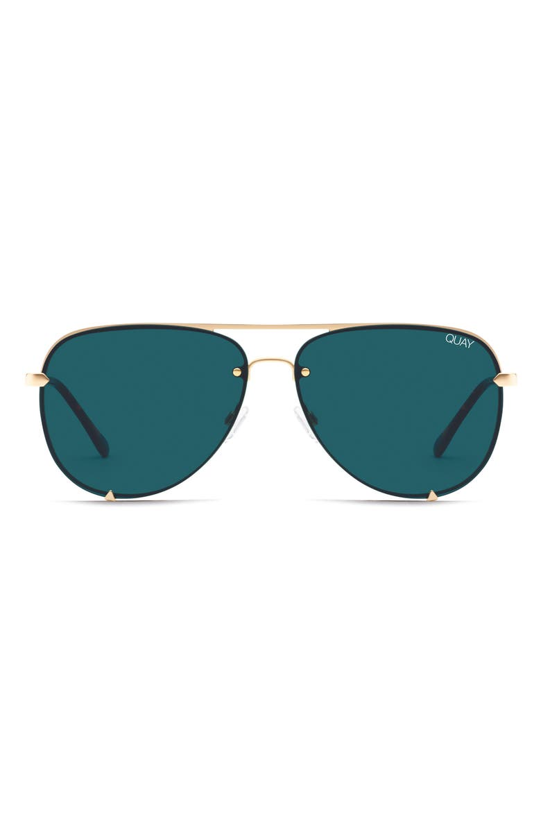 QUAY AUSTRALIA x Desi Perkins High Key Mini 59mm Rimless Aviator Sunglasses, Main, color, GOLD/ TEAL