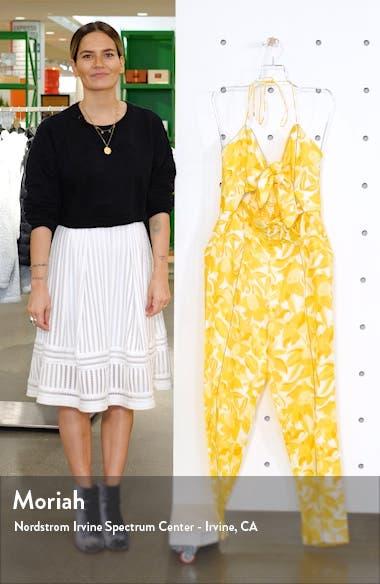 Rockpool Floral Tie Front Linen Blend Jumpsuit, sales video thumbnail