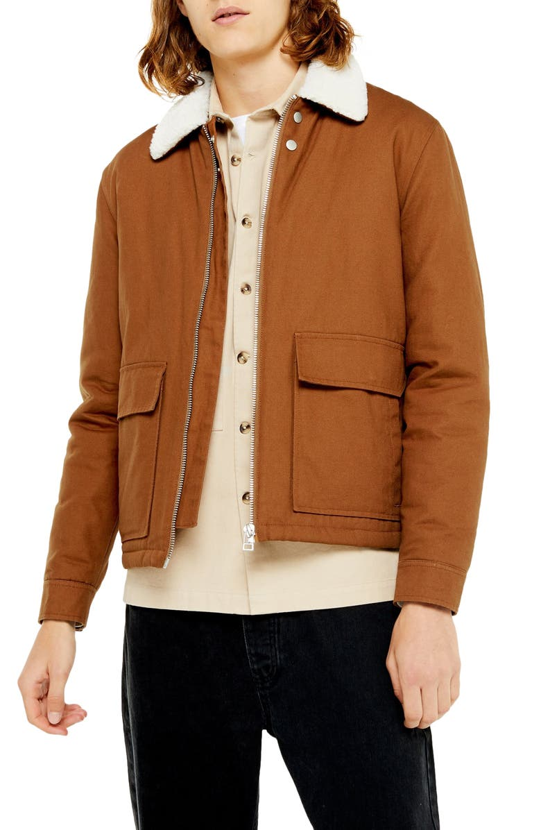 TOPMAN Faux Fur Borg Collar Coach Jacket, Main, color, LIGHT BROWN