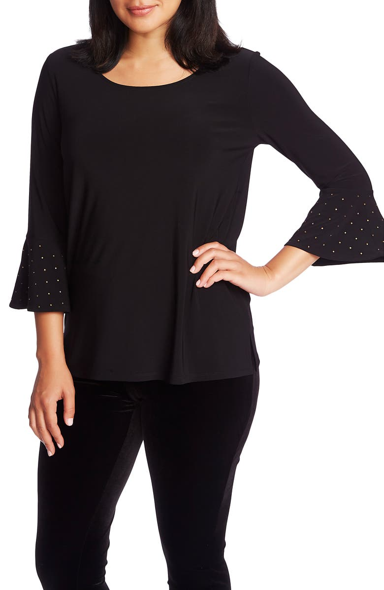 CHAUS Embellished Bell Sleeve Top, Main, color, RICH BLACK