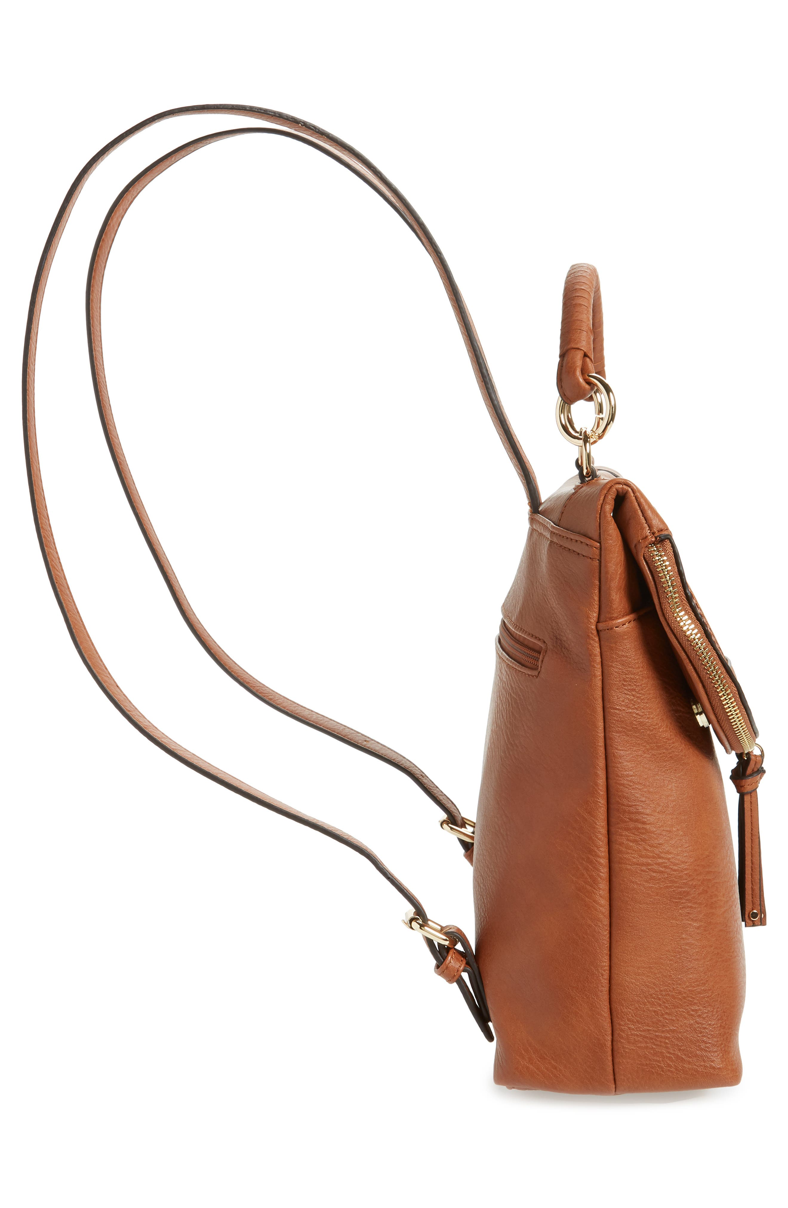 ,                             Rubie Faux Leather Backpack,                             Alternate thumbnail 6, color,                             COGNAC