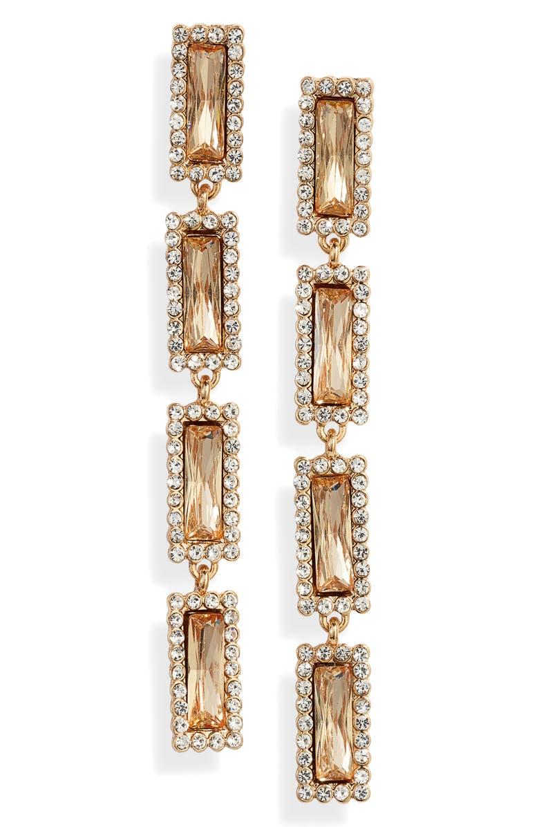 ETTIKA Crystal Drop Earrings, Main, color, GOLD