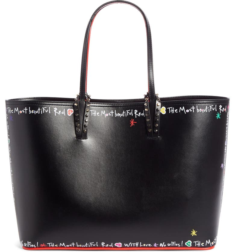 CHRISTIAN LOUBOUTIN Cabata Calfskin Leather Tote, Main, color, BLACK MULTI