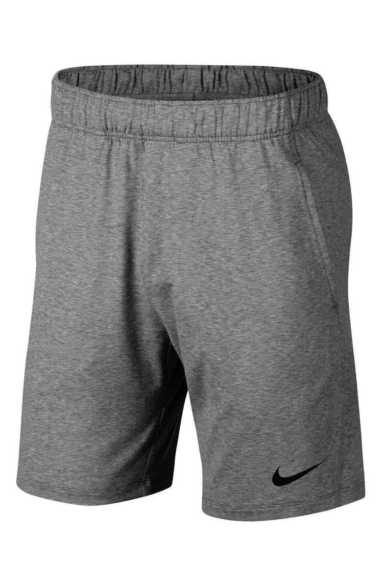 NIKE Transcend Dry Yoga Training Shorts, Main, color, BLACK/ HEATHER/ BLACK