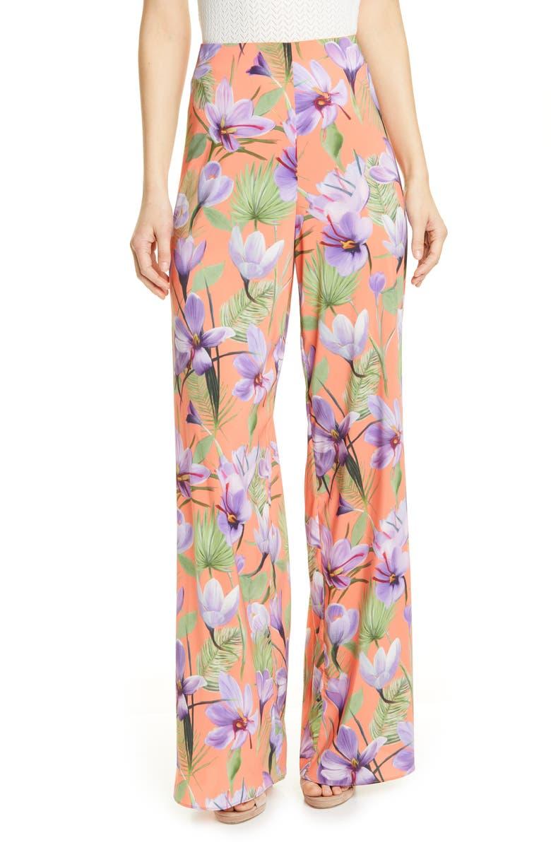 ALICE + OLIVIA Athena Floral Clean Wide Leg Pants, Main, color, 800