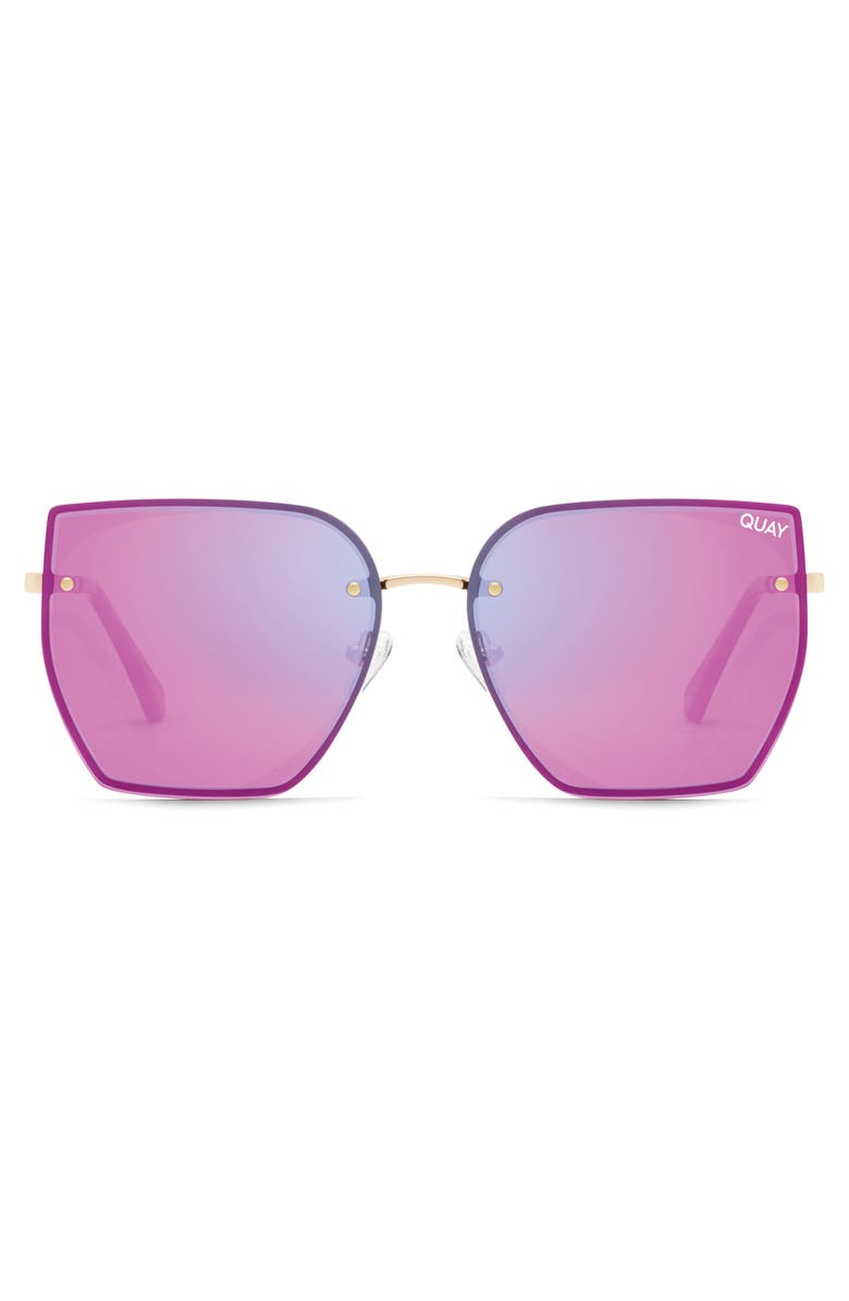 QUAY AUSTRALIA x Lizzo Around the Way 55mm Angular Sunglasses, Main, color, ROSE/ PINK MIRROR