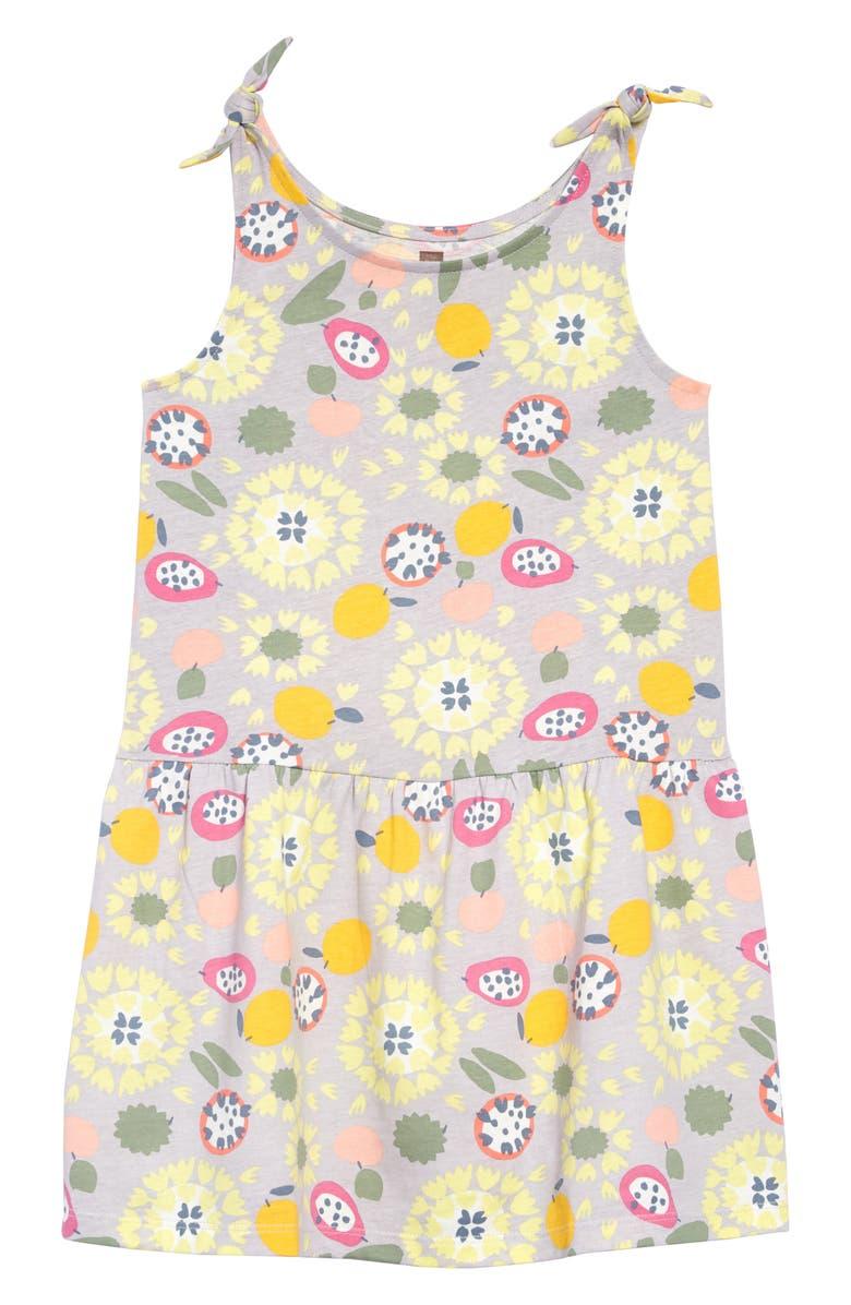 TEA COLLECTION Print Tie Shoulder Dress, Main, color, 700